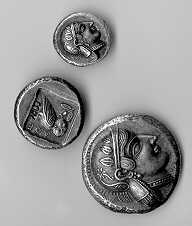 from smalest to largest, didrachm, tetradrachm, decadrachm